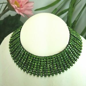 Jewelry - Emerald Rhinestone Choker Collar Necklace Gunmetal